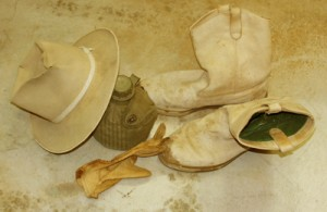 cowboy hat, boots