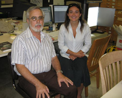 Robert Howells and Nina Triche at the work station in PRC122