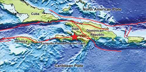 The Enriquillo-Plantain Garden fault zone, named by Paul Mann in 1983, forms part of the boundary between the North American and Caribbean plates. The image shows the topography and bathymetry around Haiti, the present-day plate boundaries (red lines) and the epicenter of the Jan. 12, 2010 Haiti earthquake (red star). Image: Compiled by Lisa Gahagan (UTIG) with topo/bathy data from Walter Smith and David Sandwell, plate boundary data from the PLATES Project at UTIG and epicenter data from USGS.