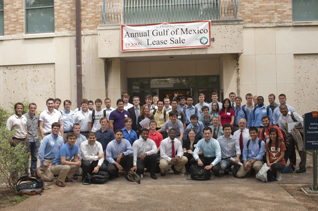 Class photo: 125 students in the class Petroleum Geology: Basin and Trend Analysis competed in the lease sale