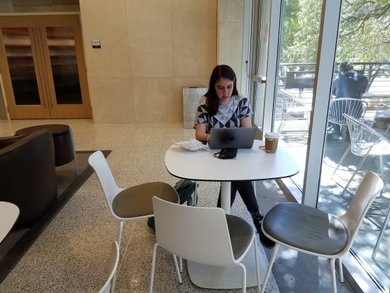 Student studying in the Student Center