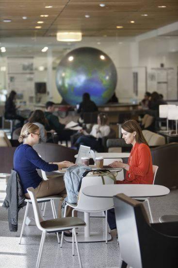 Students studying in the Student Center